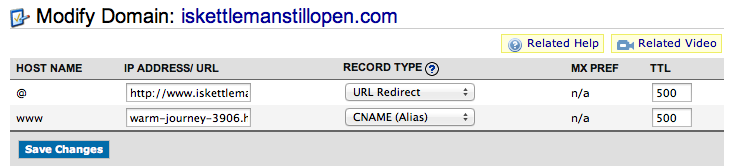 Namecheap URL redirect setup